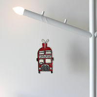 Little Red Bus 'North Pole' - Hanging Decoration