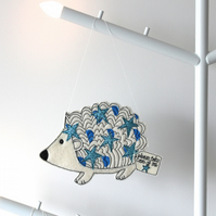 'Little Hedgehog - please take care of me' - Hanging Decoration