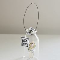 'With Love Flowerpot' - Hanging Glass Jar