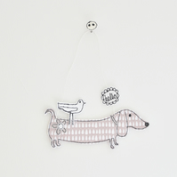 'Hello from Mr Sausage Dog' - Hanging Decoration