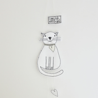 'I Love Fish, Wool & You' - Cat Hanging Decoration