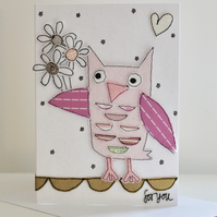 'For You From Little Owl' - Handmade C6 Blank Card
