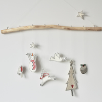 Christmas Designs Suspended from Drift Wood