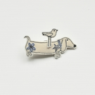 Mr Sausage Dog and Birdie Brooch