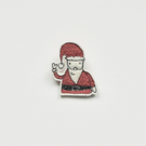 'Waving Father Christmas' Christmas Brooch