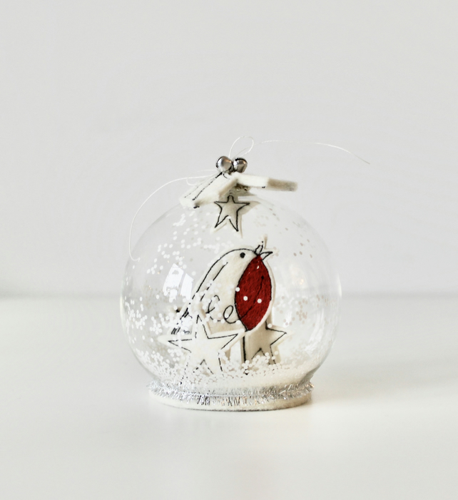 Special Order for Susan Passmore - 'Little Robin' - Glass Dome Decoration