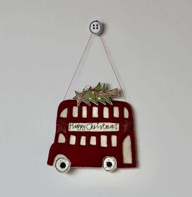 Special Order for Maxine Mc - Christmas Red Bus - Hanging Decoration