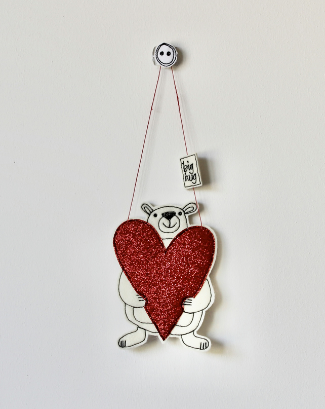 'A Big Hug' Mr Bear is Holding a Heart, Personalisable - Hanging Decoration