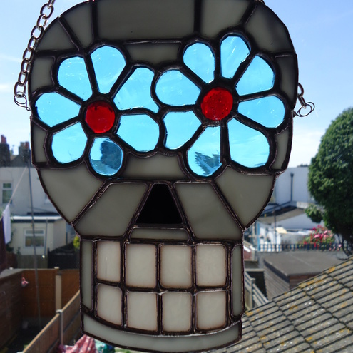 Stained Glass Sugar Skull Suncatcher Day of the... - Folksy