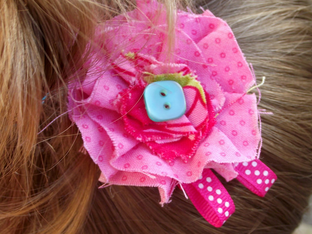 Pale pink fabric flower hairclip