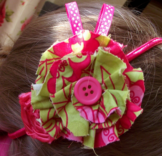 Citrus green and hot pink fabric flower headband.