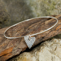 My heart sterling silver bangle