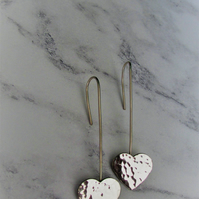 Sterling silver dangle hearts