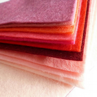 PINKS Wool Blend Felt Pack 10 colours