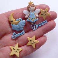 Moons, Stars & Angel - Sweet Dreams - Dress It Up Buttons