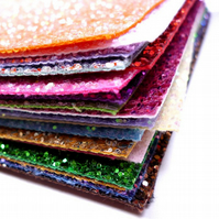 Chunky Glitter Fabric Material Sheets or Mini Rolls Choose from 24 colours