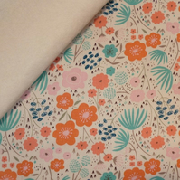 Ava Rose fabric felt : Large Floral on Natural