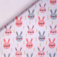 Ruminating Rabbits fabric felt : on White perfect for bow making