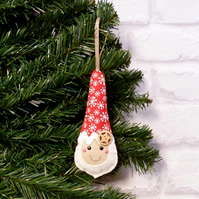 Fancy Hat Santa Christmas Decoration Ornament HANDMADE Scandi father christmas C