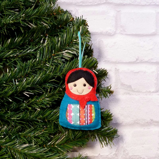 Christmas Decorations Handmade.Russian Doll Christmas Decoration Ornament Handmade Matroyshka Cute
