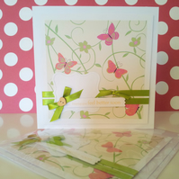 elegant  and pretty butterfly get large well soon card , green, pink