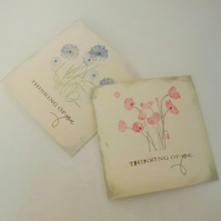 Simple 'thinking of you' card on cream, with red poppies
