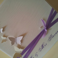 large white handmade butterfly wedding card, free personalisation, any colours