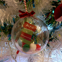 Personalised stocking bauble