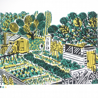 Allotment Plot Original Lino Print