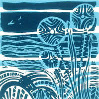 SALE Lakeside Original Lino Print.