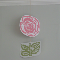 Pink Flower Card Lino Printed