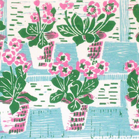 Potted Primulas Original Lino Print with Pink.