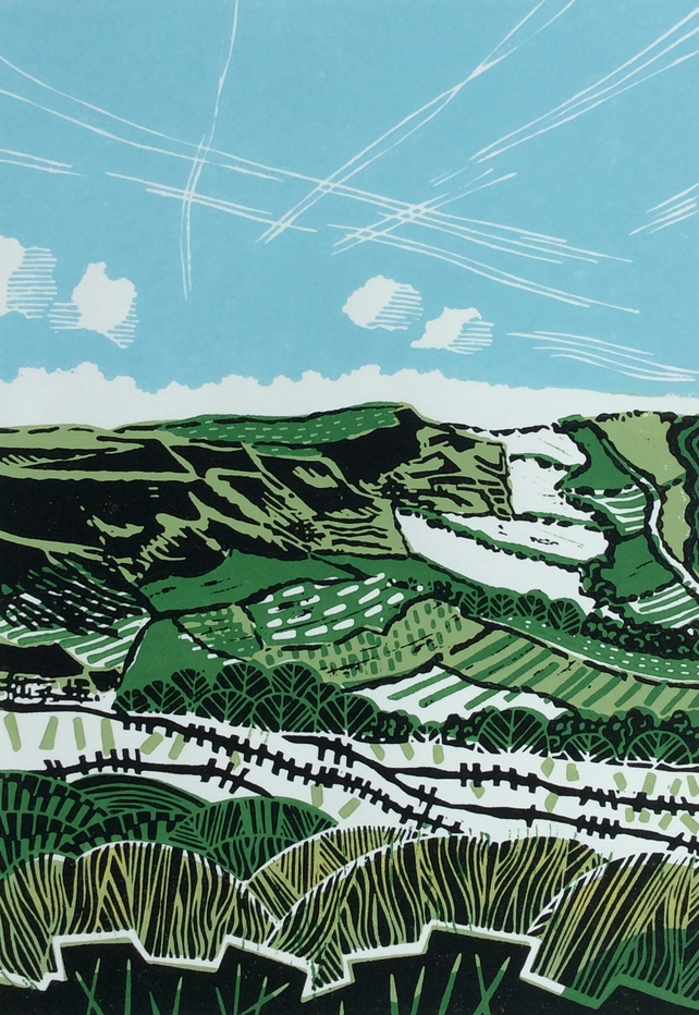 Big Sky on the Edge Original Lino Print