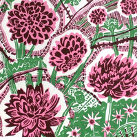 Dahlias Darling Original Lino Print