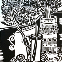 Trio of vessels with seedheads lino print