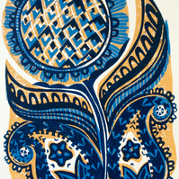 Sunflower Linocut Original Print