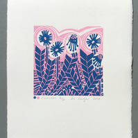 SALE Chevron Original Lino Print