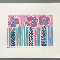 SALE Parallel Stems Lino Print