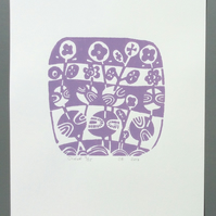 SALE Olive Original Lino Print in mauve
