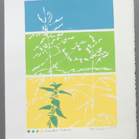 SALE Banded Grasses Original Lino Print in yellow blue and green