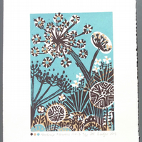 SALE Parsnip Flowers no3 lino print