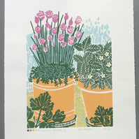 SALE Chives and Strawberries Original Lino Print