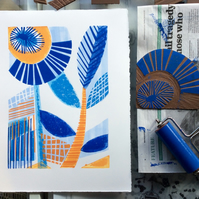 Eden no.2 Mono and linocut print