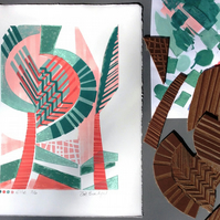 Elle Linocut and Mono Original Print