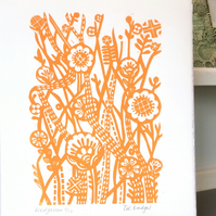 Hedgerow Linocut Print Original