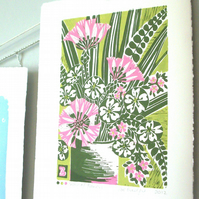 SALE Vase of flowers lino print.