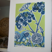 Seed Bloom  lino print.