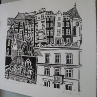 City Windows lino print.