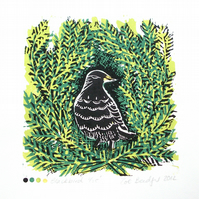 SALE Bird in Tree Lino print