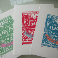 SALE Valentines Endless Love lino print.